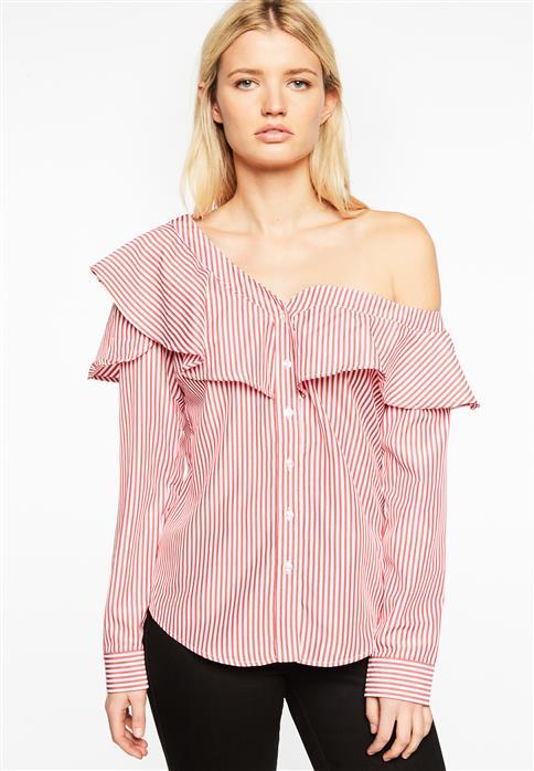 Bardot Stripe Ruffle Shirt