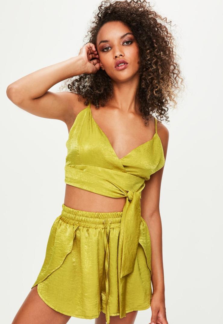 londunn + missguided green satin bralet top
