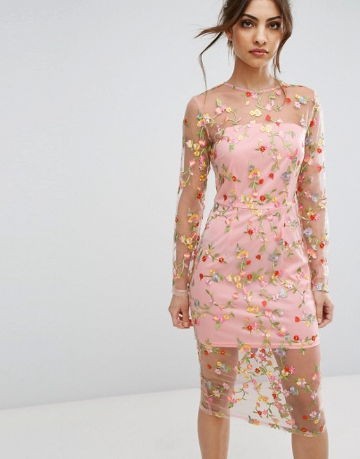 Pretty little thing Embroidered sheer dress