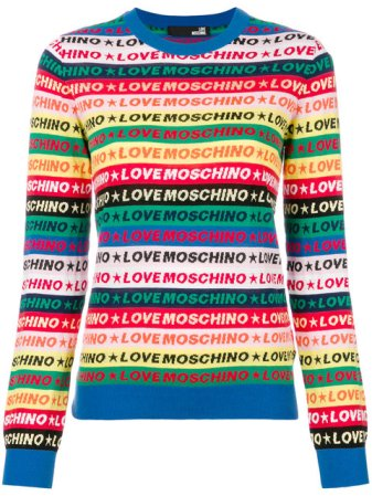 Love Moschino Striped Logo Jumper