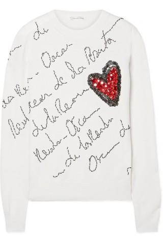 Oscar De La Renta - Embellished Merino Wool Sweater