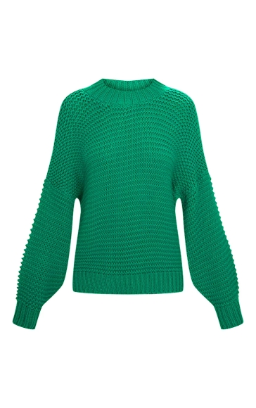 Pretty Little Thing Emerald Green Oversized Chunky Jumper