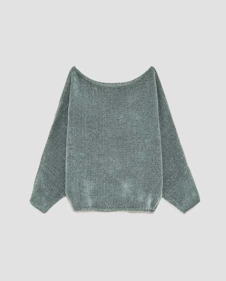 Zara Chenille Batwing Sleeve Sweater